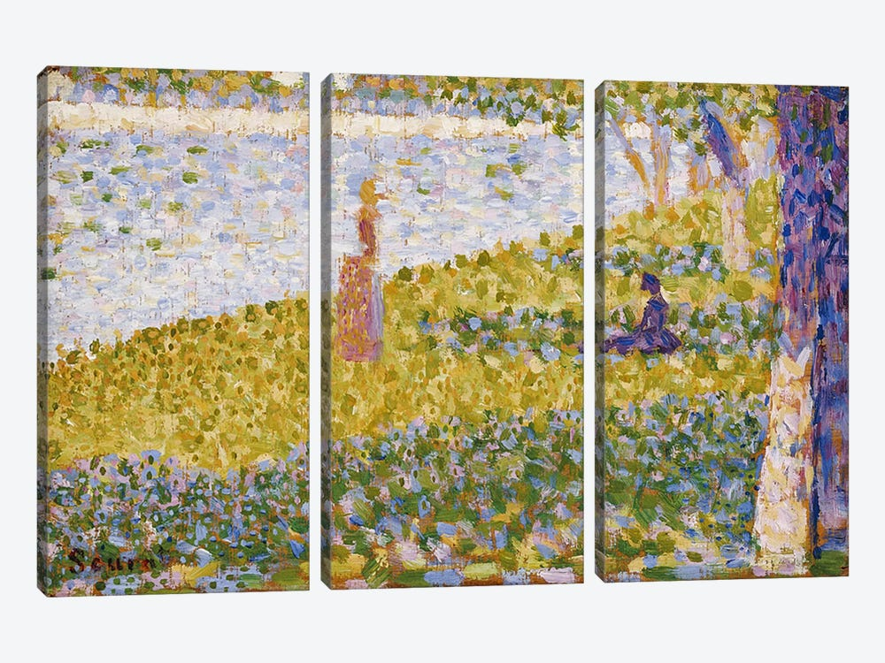 Women on the River Bank, c.1884-85 by Georges Seurat 3-piece Canvas Art