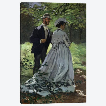 The Promenaders, or Claude Monet Bazille and Camille, 1865  Canvas Print #BMN511} by Claude Monet Canvas Wall Art