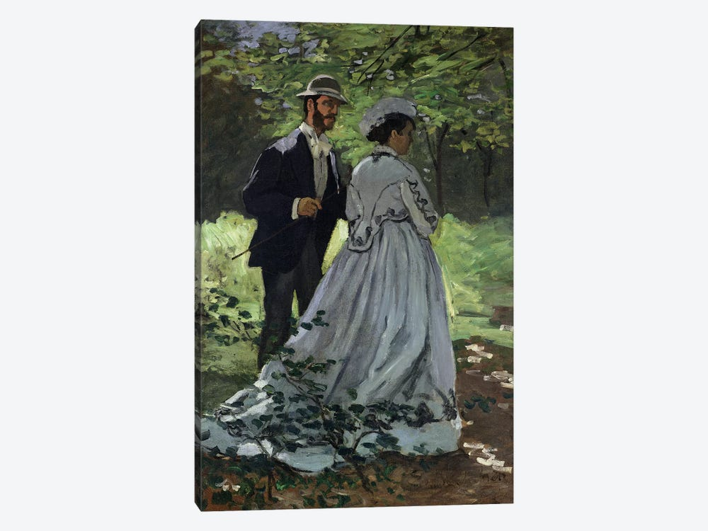 The Promenaders, or Claude Monet Bazille and Camille, 1865  by Claude Monet 1-piece Art Print