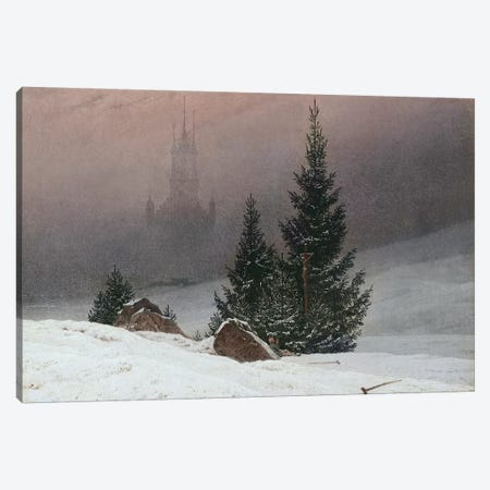 Winter Landscape with a Church, c.1811  Canvas Print #BMN5122} by Caspar David Friedrich Canvas Artwork
