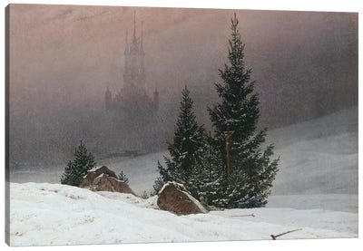 Winter Landscape with a Church, c.1811  Canvas Art Print