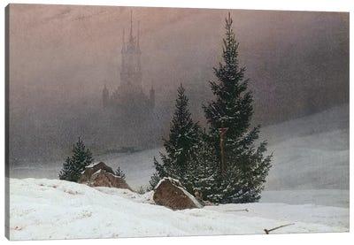 Winter Landscape with a Church, c.1811  Canvas Art Print