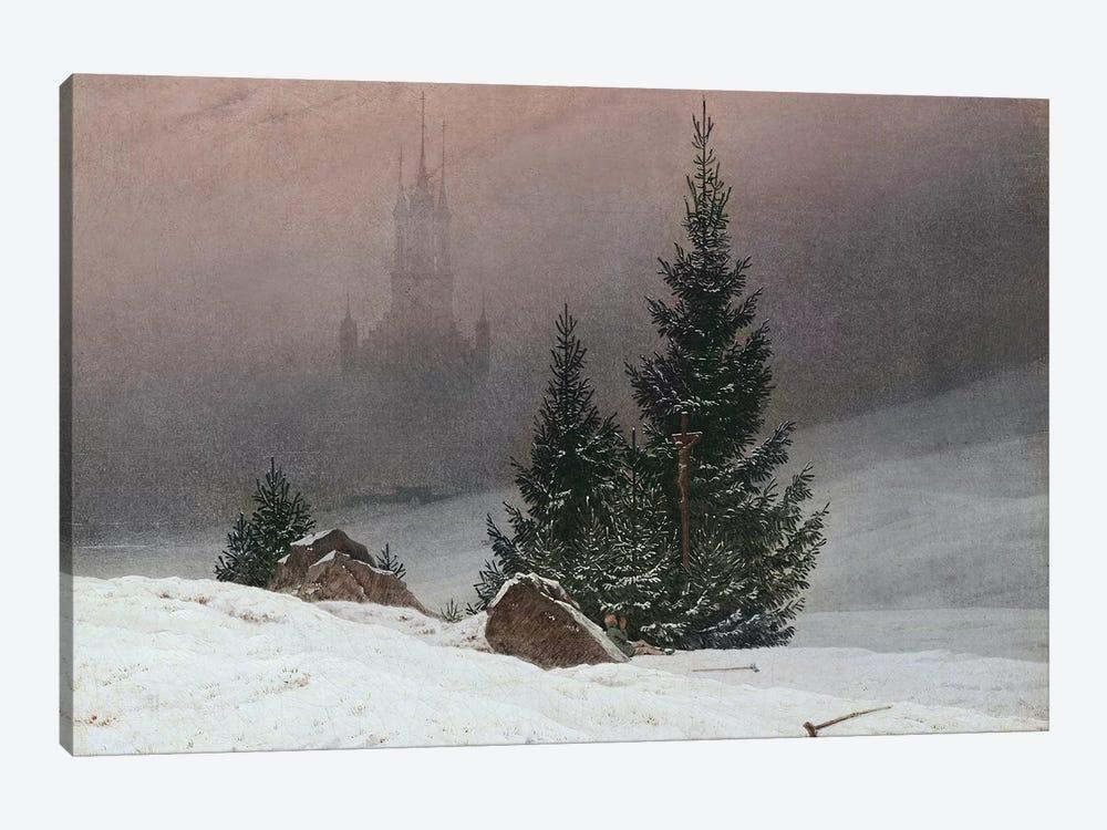 Winter Landscape with a Church, c.1811  by Caspar David Friedrich 1-piece Canvas Art