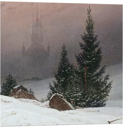 Winter Landscape with a Church, c.1811 by Caspar David Friedrich Canvas Artwork