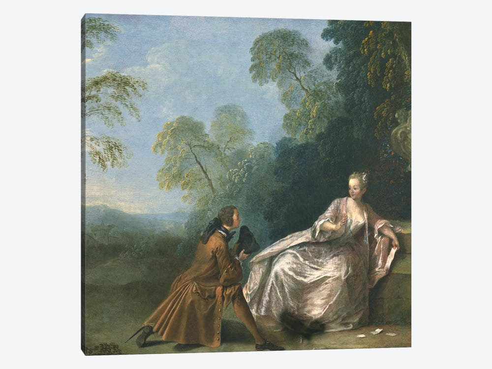 Une Conversation Galante  by Jean-Baptiste Joseph Pater 1-piece Canvas Artwork