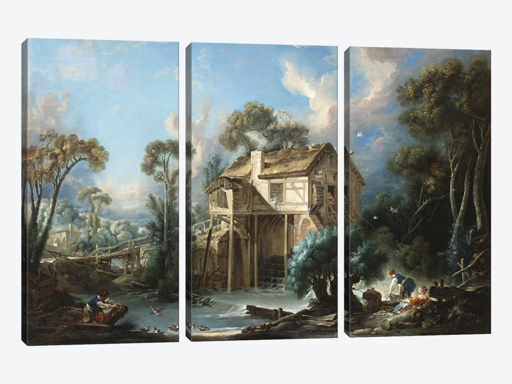 The Mill at Charenton, c.1756  by Francois Boucher 3-piece Canvas Art Print