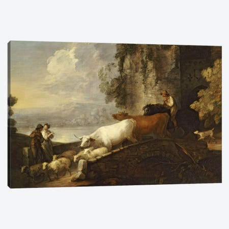 A River Landscape with Rustic Lovers, a Mounted Herdsman Driving Cattle and Sheep over a Bridge with a Ruined Castle Beyond  Canvas Print #BMN5132} by Thomas Gainsborough Art Print