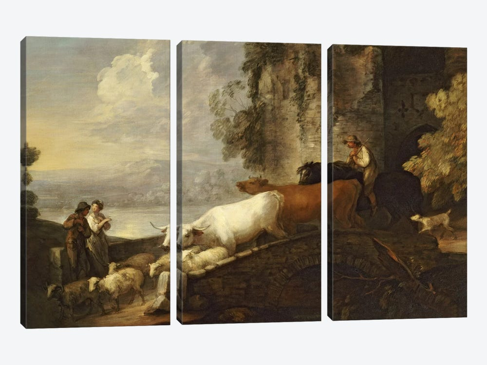 A River Landscape with Rustic Lovers, a Mounted Herdsman Driving Cattle and Sheep over a Bridge with a Ruined Castle Beyond  by Thomas Gainsborough 3-piece Art Print