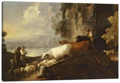A River Landscape with Rustic Lovers, a Mounted Herdsman Driving Cattle and Sheep over a Bridge with a Ruined Castle Beyond  Canvas Art Print