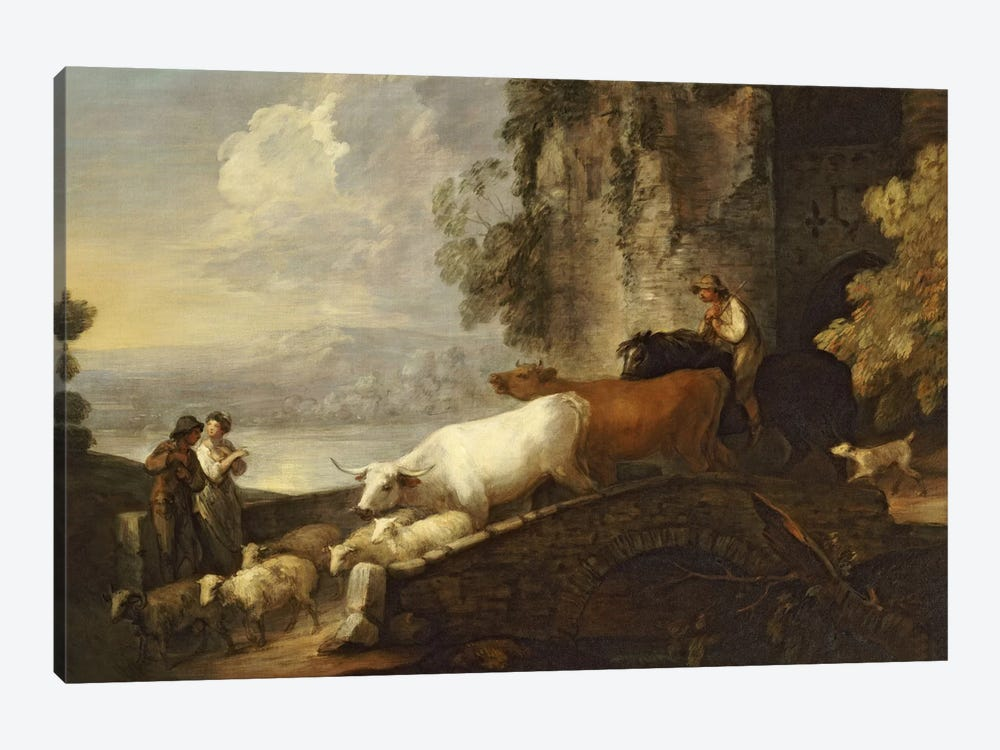 A River Landscape with Rustic Lovers, a Mounted Herdsman Driving Cattle and Sheep over a Bridge with a Ruined Castle Beyond  by Thomas Gainsborough 1-piece Canvas Art Print