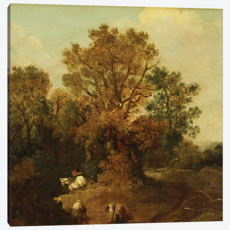 A Wooded Landscape with Faggot Gatherers by a Path, a White Horse Tethered Beyond Canvas Print #BMN5133} by Thomas Gainsborough Canvas Print
