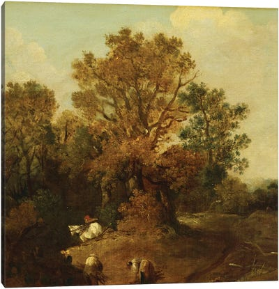A Wooded Landscape with Faggot Gatherers by a Path, a White Horse Tethered Beyond Canvas Art Print