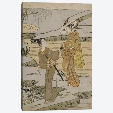 A summer scene on a raised embankment of a young man cutting an aubergine to give to his young lady companion  Canvas Print #BMN5134} by Suzuki Harunobu Canvas Wall Art