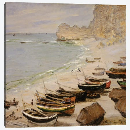Boats on the Beach at Etretat, 1883  Canvas Print #BMN5137} by Claude Monet Canvas Artwork