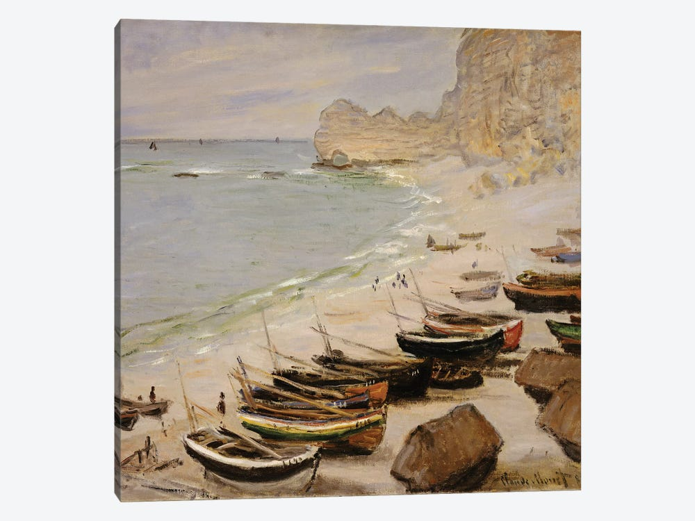 Boats on the Beach at Etretat, 1883  by Claude Monet 1-piece Canvas Wall Art