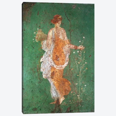 Spring, maiden gathering flowers, from the villa of Varano in Stabiae, c.15 BC-60 AD  Canvas Print #BMN513} by Roman Canvas Art