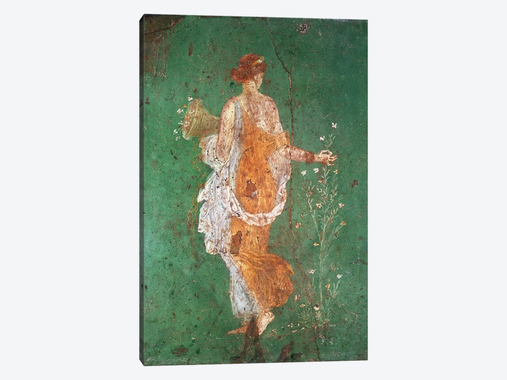 Spring, maiden gathering flowers, from the villa of Varano in Stabiae, c.15 BC-60 AD  by Roman 1-piece Canvas Print