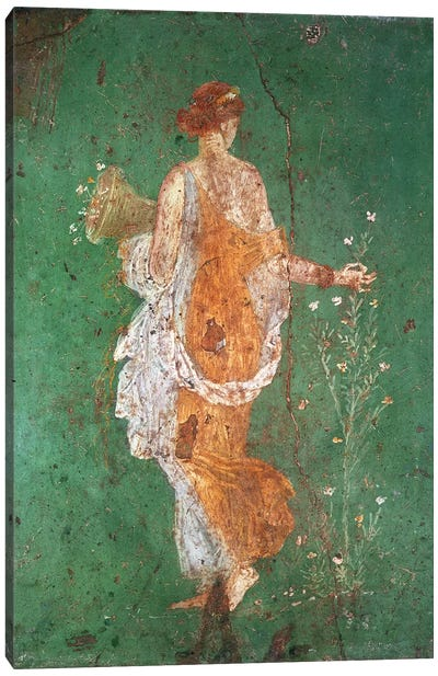 Spring, maiden gathering flowers, from the villa of Varano in Stabiae, c.15 BC-60 AD  Canvas Art Print