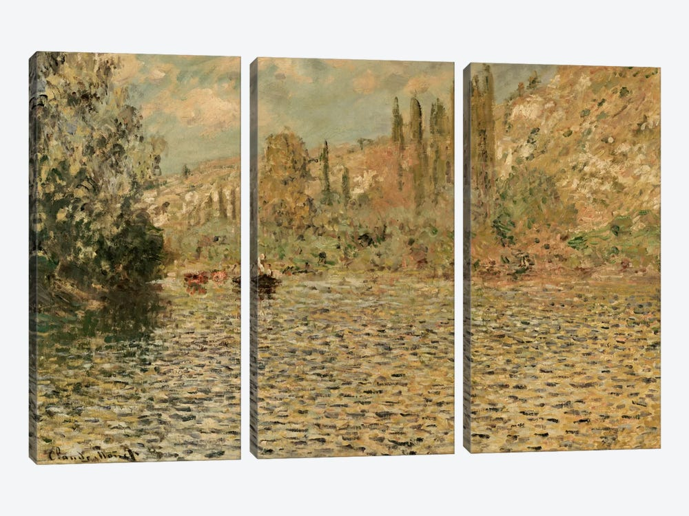The Seine at Vetheuil  by Claude Monet 3-piece Canvas Wall Art