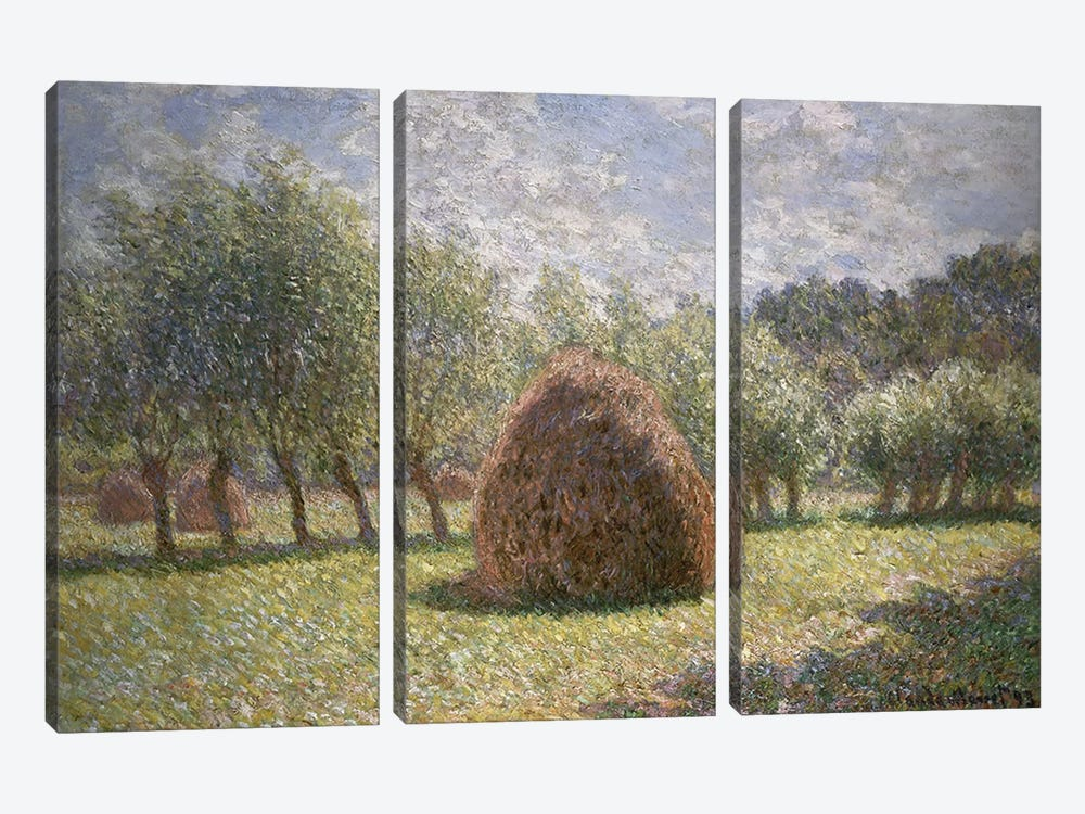 Haystacks at Giverny, 1893  by Claude Monet 3-piece Canvas Wall Art