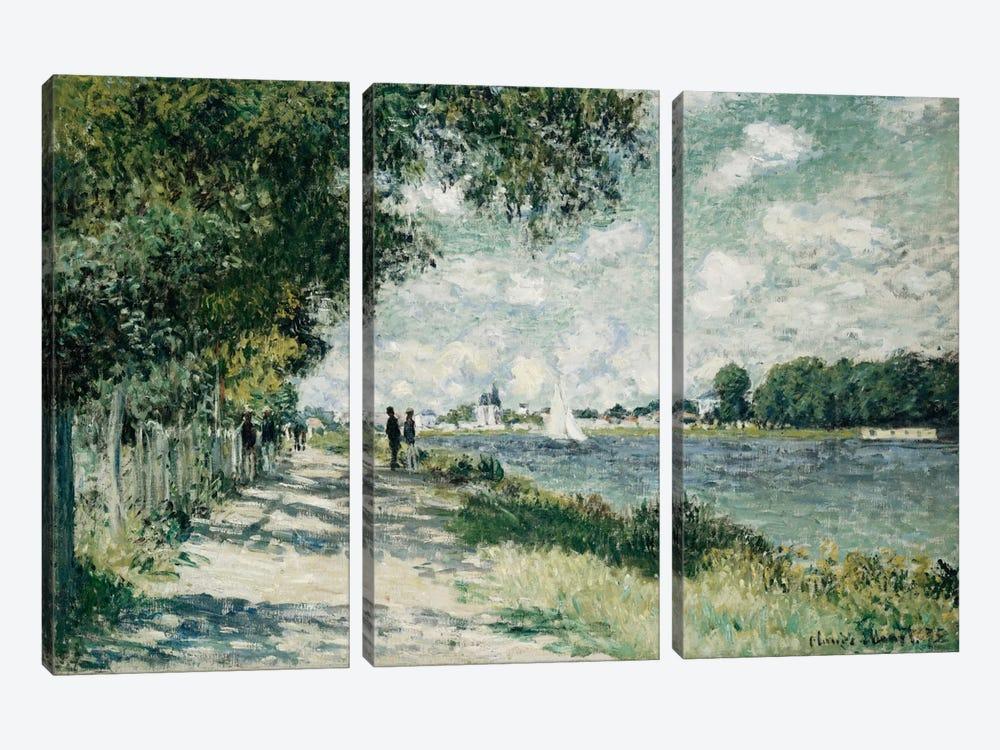The Seine at Argenteuil, 1875  by Claude Monet 3-piece Canvas Print