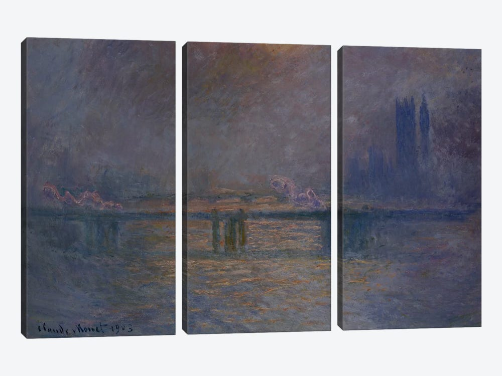 Charing Cross Bridge, The Thames, 1900-03 by Claude Monet 3-piece Canvas Wall Art