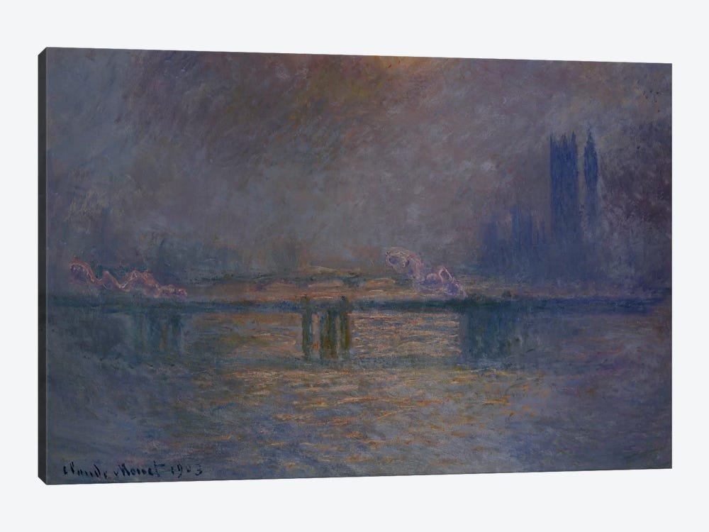 Charing Cross Bridge, The Thames, 1900-03  by Claude Monet 1-piece Canvas Wall Art