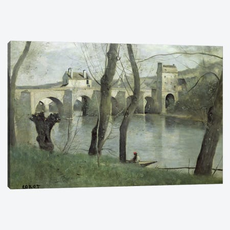 The Bridge at Mantes  Canvas Print #BMN514} by Jean-Baptiste-Camille Corot Canvas Print