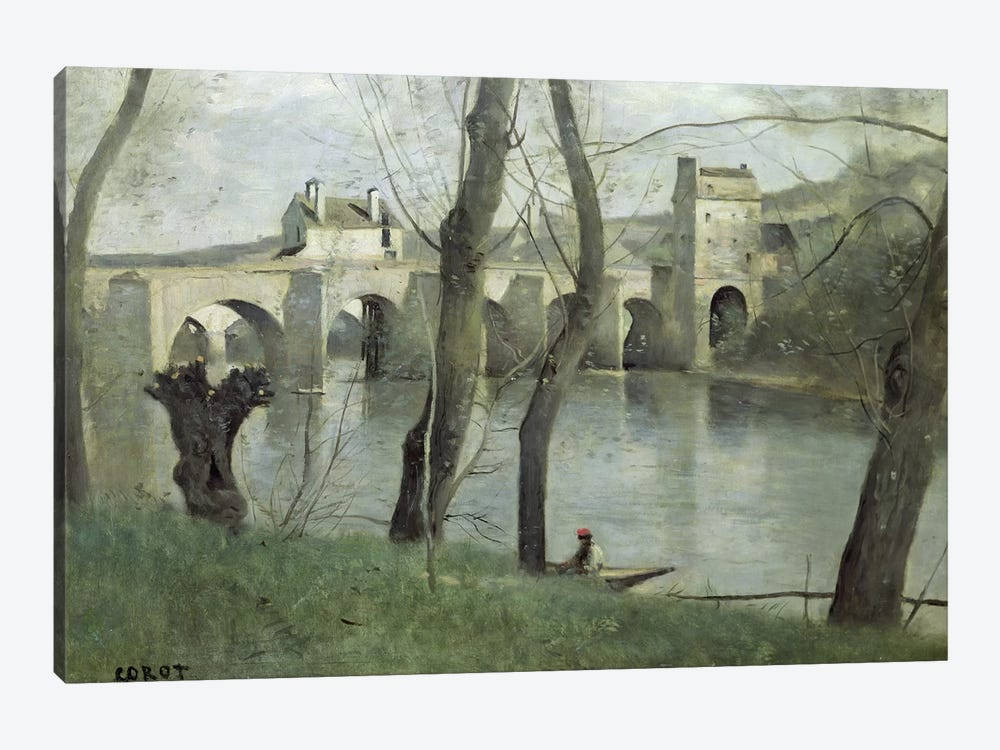 The Bridge at Mantes  by Jean-Baptiste-Camille Corot 1-piece Canvas Wall Art