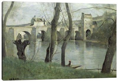 The Bridge at Mantes  Canvas Art Print