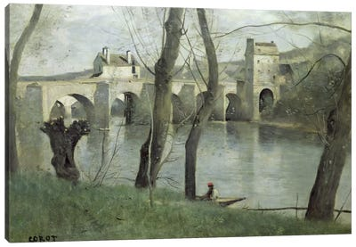 The Bridge at Mantes  Canvas Art Print