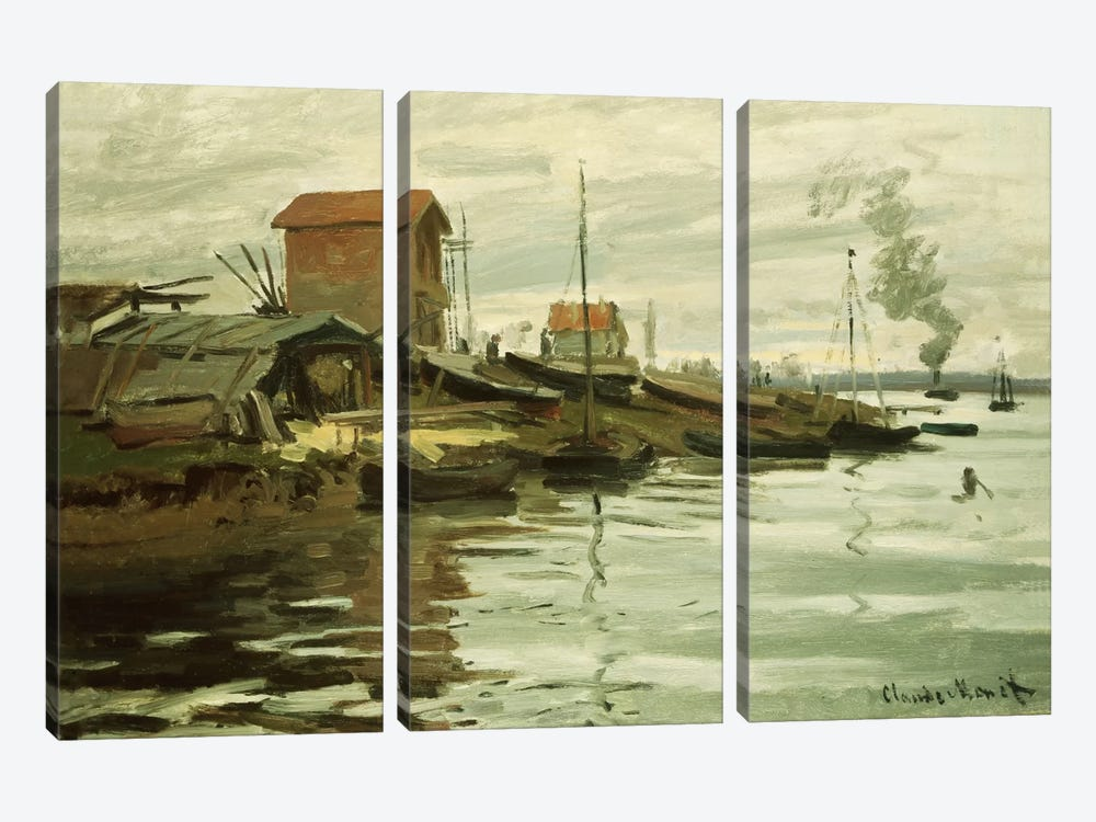 The Seine at Petit-Gennevilliers, 1872  by Claude Monet 3-piece Art Print