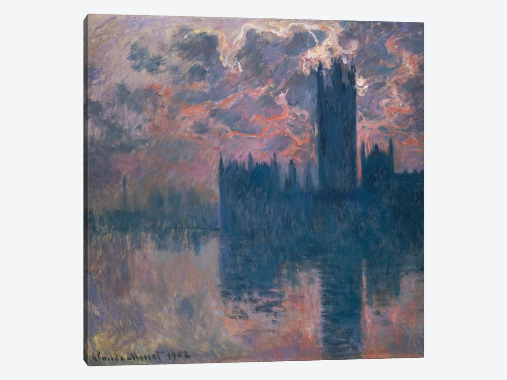 Houses of Parliament, Sunset, 1902  by Claude Monet 1-piece Canvas Art Print