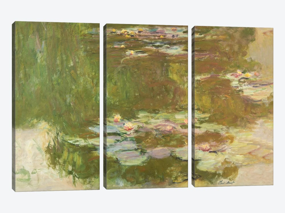 Lily Pond, 1881  by Claude Monet 3-piece Canvas Wall Art
