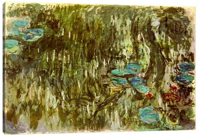 Water Lilies, Reflected Willow, c.1920 Canvas Art Print