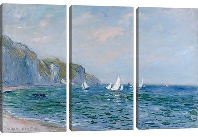 Cliffs and Sailboats at Pourville  Canvas Art Print