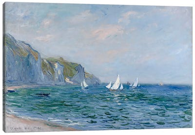 Cliffs and Sailboats at Pourville  Canvas Art Print