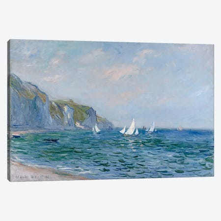 Cliffs and Sailboats at Pourville  Canvas Print #BMN5160} by Claude Monet Canvas Art