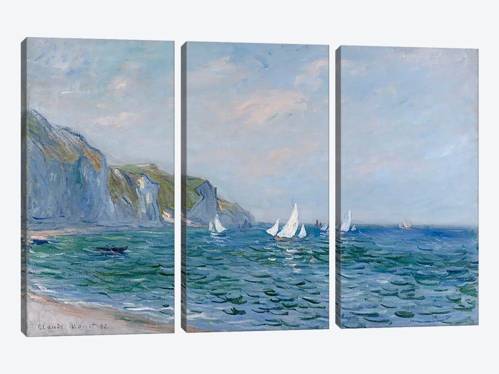 Cliffs and Sailboats at Pourville  by Claude Monet 3-piece Canvas Artwork