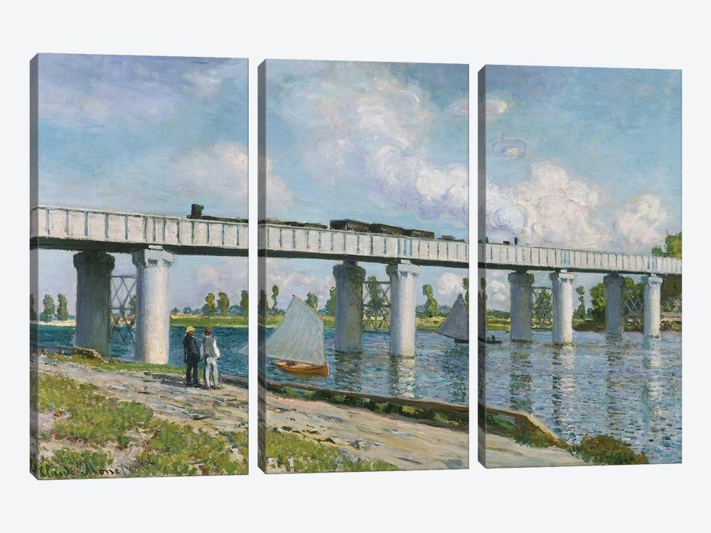 Railway Bridge at Argenteuil, 1873  by Claude Monet 3-piece Canvas Art