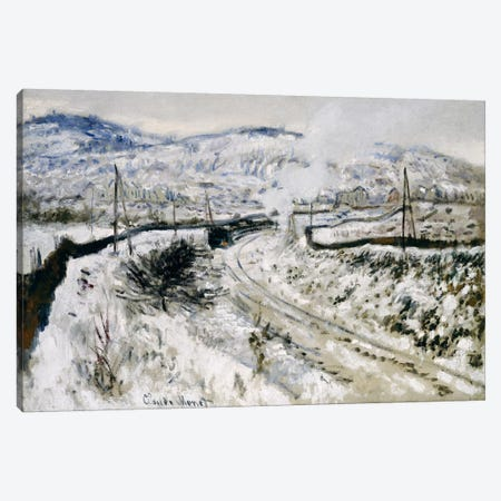 Train in the Snow at Argenteuil  Canvas Print #BMN5172} by Claude Monet Canvas Print