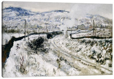 Train in the Snow at Argenteuil  Canvas Art Print