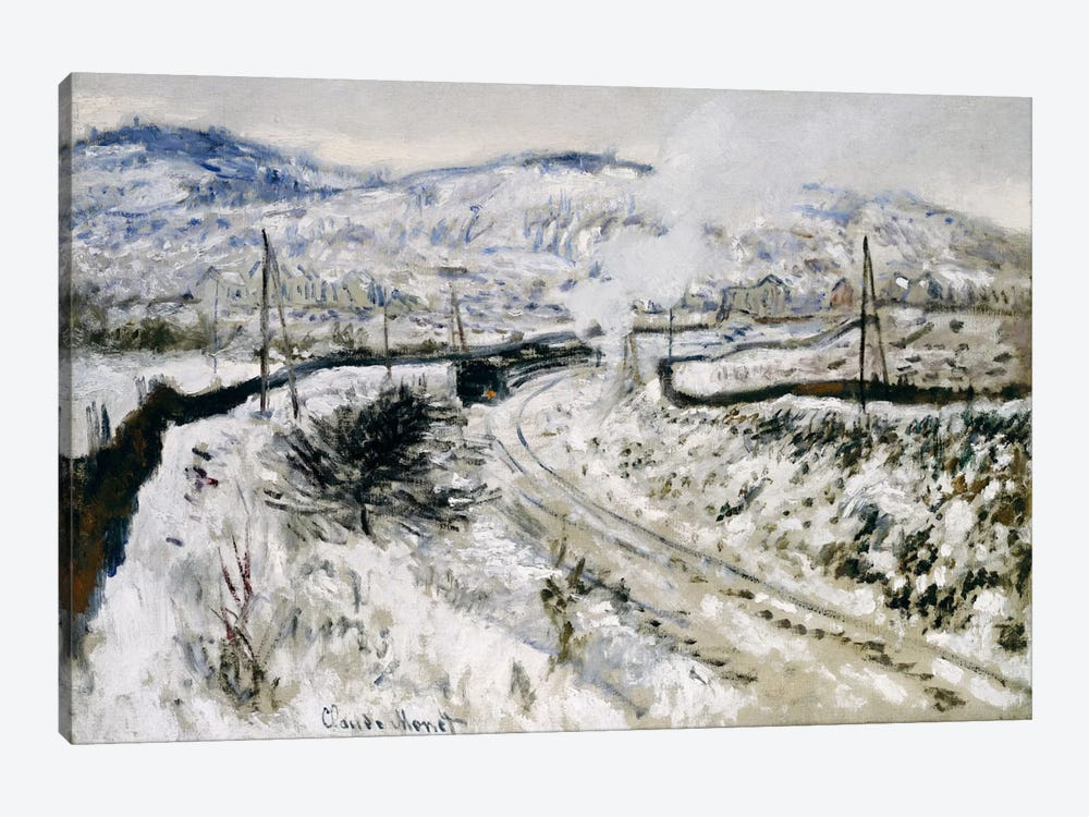 Train in the Snow at Argenteuil  by Claude Monet 1-piece Canvas Print