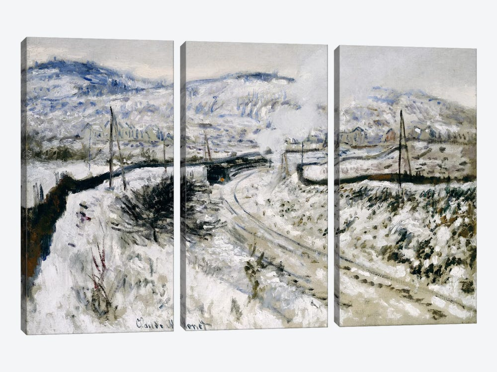 Train in the Snow at Argenteuil  by Claude Monet 3-piece Art Print