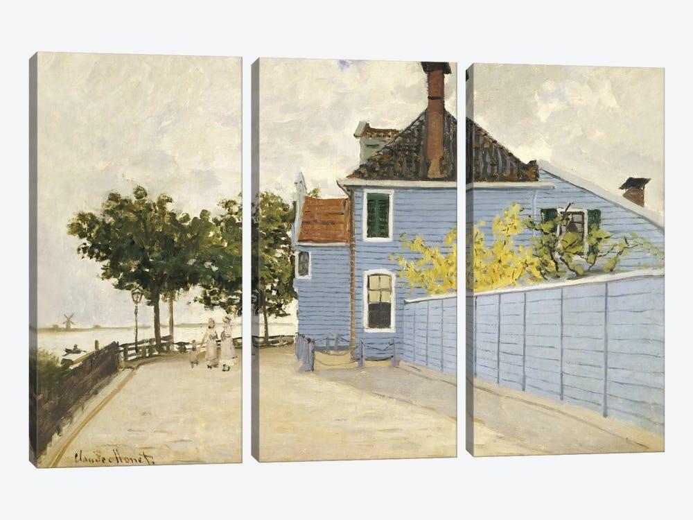 The Blue House, Zaandam  by Claude Monet 3-piece Canvas Artwork