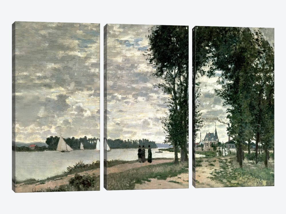 The Banks of the Seine at Argenteuil, 1872  by Claude Monet 3-piece Art Print