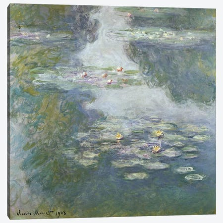 Waterlilies, Nympheas, 1908  Canvas Print #BMN5176} by Claude Monet Canvas Wall Art