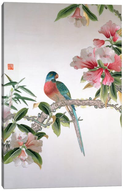 Jay on a flowering branch, Republic period  Canvas Art Print