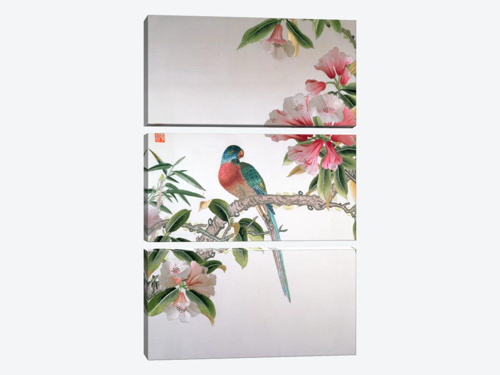 Jay on a flowering branch, Republic period  by Chinese School 3-piece Canvas Art Print
