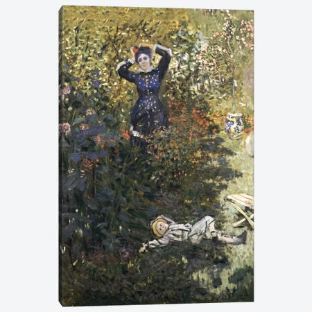 Camille and Jean in the Garden at Argenteuil  Canvas Print #BMN5180} by Claude Monet Canvas Wall Art
